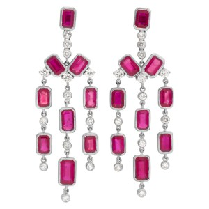 Burma ruby earrings with diamonds in 18k white gold