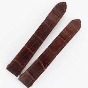 "Cartier Roadster brown alligator strap 15 x 14  each piece 4"" long for deployment."