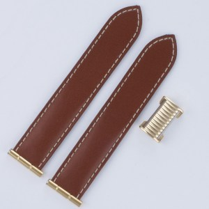 "Boucheron ""reflet"" brown calf golden steel 20mm both 3.75"" length both"