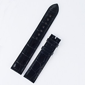 "Boucheron Reflet black alligator strap (18x16) 18mm by lug end 16mm by buckle, 4.5"" long 3.5"" short"