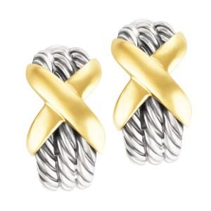 David Yurman 3 row crossover 14k & sterling hoop earrings