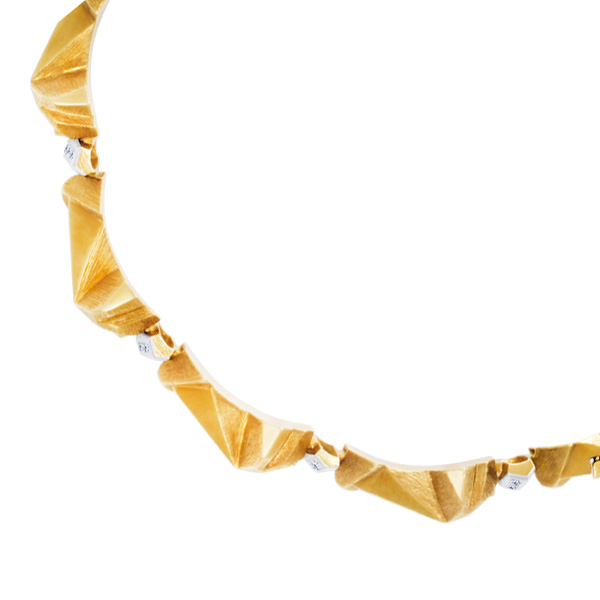 18K Modern Angular style David Webb Necklace with diamonds accent