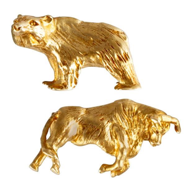 """Stock Market Guru"" bull & bear cufflinks in 14k"