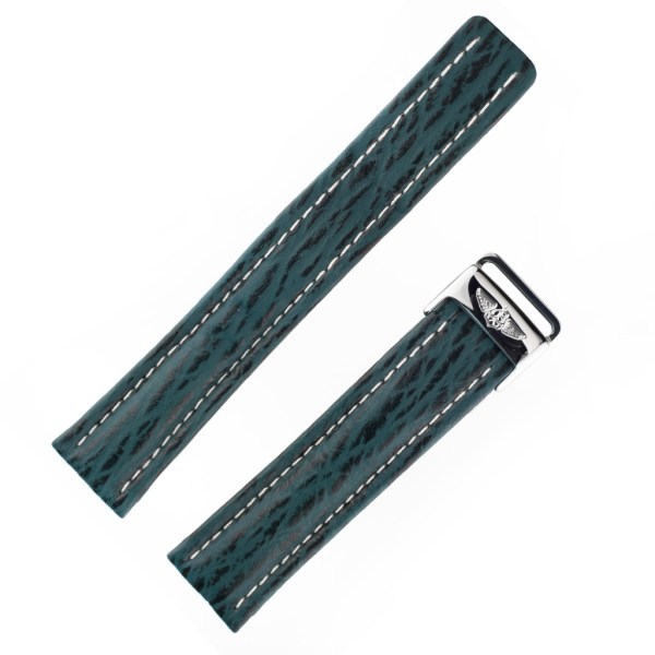 Breitling shark skin green strap with white stitching (20X18)