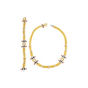Fashionable 18k yellow gold necklace and bracelet set