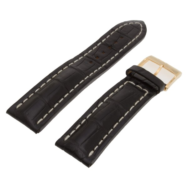 Breitling black alligator strap 22 x 20mm with original 18k gold tang buckle