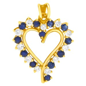 Sapphire and Diamond heart pendant in 14k yellow gold.
