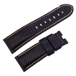 Panerai black leather strap with stitching  24mm x 21mm
