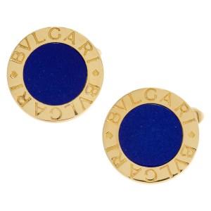 Bvlgari cufflinks in 18k yellow gold with blue lapiz center