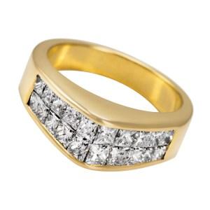 Invisible-set princess cut diamond ring in 18k. 1.20 carats. Size 5.75