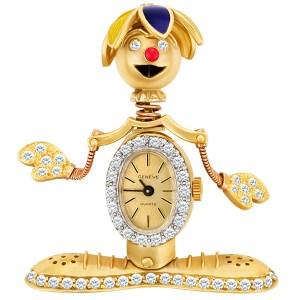 Custom clown pin in 14k gold, Geneve watch body & enamel hat. 2 cts in diamonds.