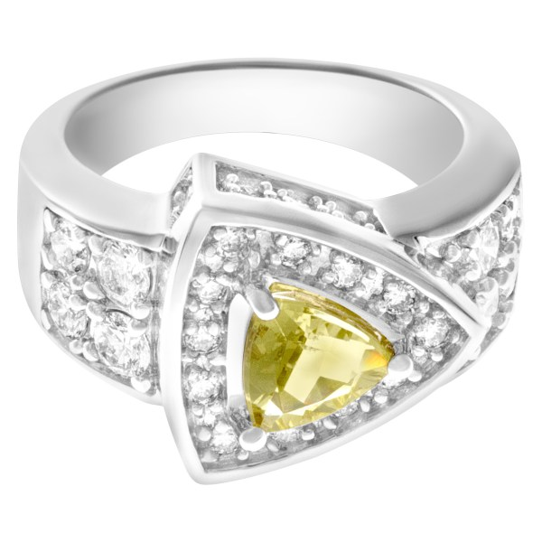 Geometric Brilliance 14k white gold ring