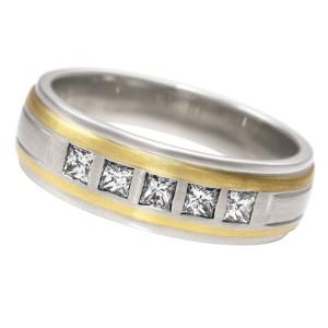Mens princess cut diamond ring in 18k white & yellow gold