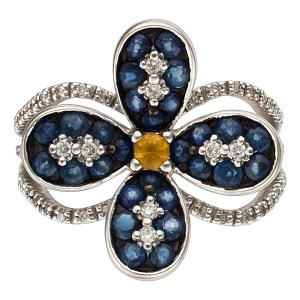 Light and colorful 18k white gold micro pave diamond ring with blue/yellow sapphires