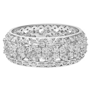 Diamond Eternity Band and Ring Charming Floral. 3.00 carats in diamonds. Size 9