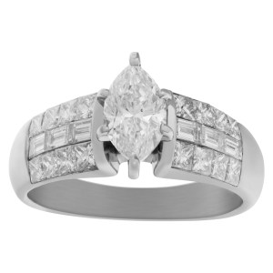 GIA Certified diamond ring set in 18k white gold
