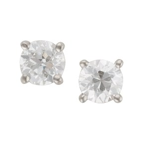 European Cut Diamond Studs set in 14k white gold with 1.24 carats total weight I1 clarity