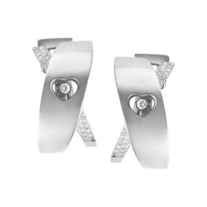 Chopard Happy diamond heart hoop earrings with floating diamond in 18k white gold