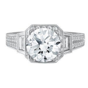 18k White gold setting with diamond accents. 1.64 carats in diamonds. Size 5.5