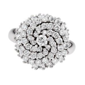 Unique cluster diamond ring in 18k white gold. 3.20 carats in diamonds