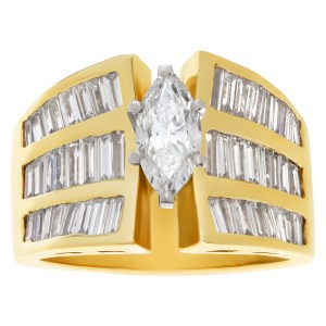 GIA certified marquise cut diamond 0.93 cts (G Color, SI1 Clarity) set in 18k yellow gold. Size 8.5