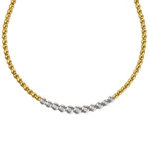 Bezel set diamond necklace in 18k