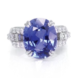 Gia & Agta Certified Royal Blue Sapphire & Diamond Ring In Platinum. 10.57ct Royal Blue Sapphire