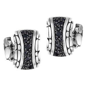 John Hardy Sterling Silver And Black Sapphire Cufflinks Ref. Mbs2156cb