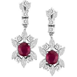 Deep Red Ruby earrings in 18k white gold