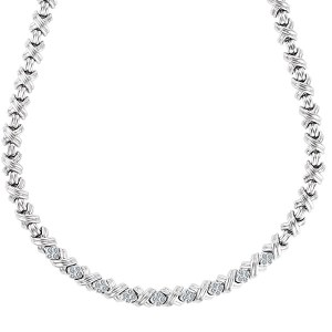 Tiffany & Co. Signature necklace in 18k white gold with app. 1.03 carats in diamonds