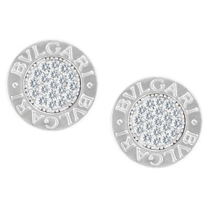 Bvlgari earrings in 18k white gold with diamond accents