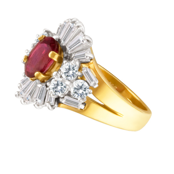 Ruby and Diamond earring and ring set in 18k