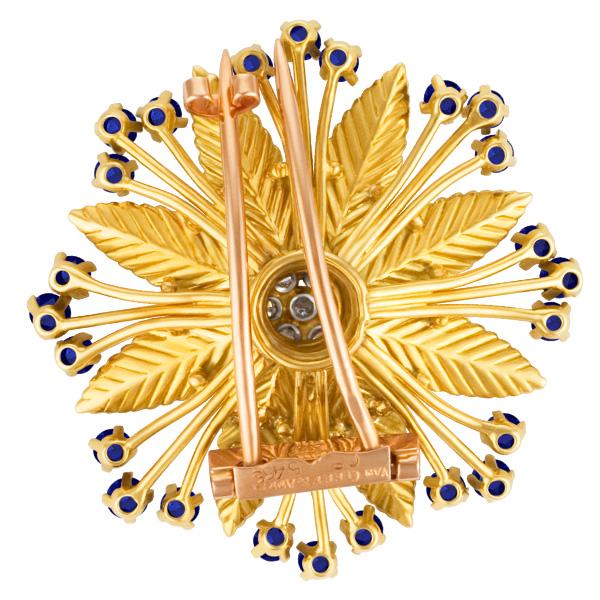 Van Cleef & Arpels Flower broach and earrings in 18k yellow gold w/ sapphires & diamonds