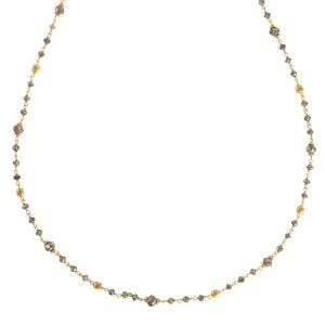 Rose cut brown diamond necklace in 18k