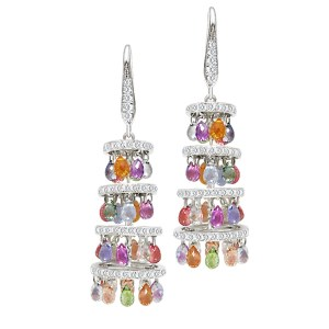 Pagoda style earrings in 18k white gold w/ 22.70 cts in colored briolette sapphires & 1.40 cts in di