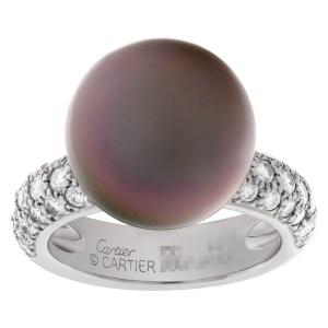 Cartier Tahitian black pearl & diamond ring in 18k white gold. 1.20ct in pave diamonds.