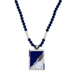 Erte Beloved lapis necklace in sterling silver