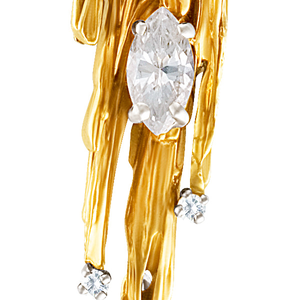 Iicicle Pendant in 14k yellow gold with a Marquise and Round Diamonds