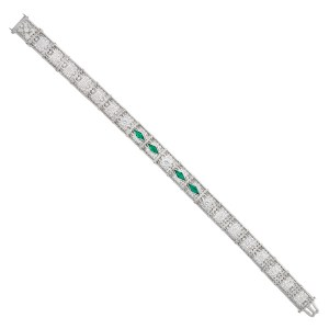 Emerald and diamond bracelet in 14k white gold with platinum top