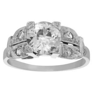 Vintage diamond platinum ring with central diamond app. 1.20 carats (I-J, SI1)