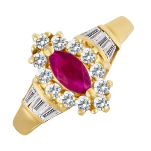 Ruby ring with diamonds in 14k