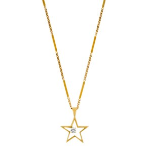 Star necklace with diamond center in 14k