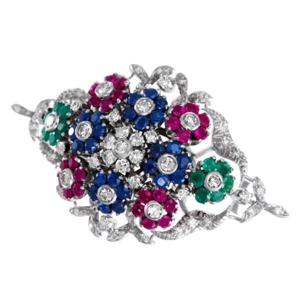 Sapphire, emerald, ruby & diamond  set in 18k white gold