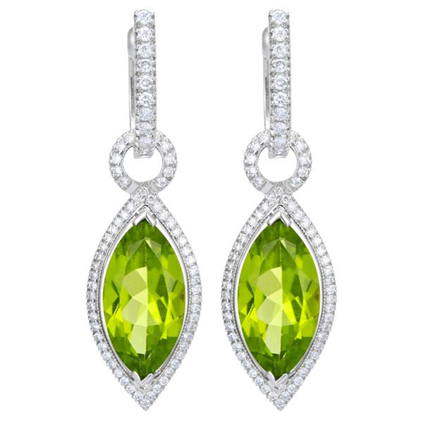 Drop peridot earrings in 18k white gold