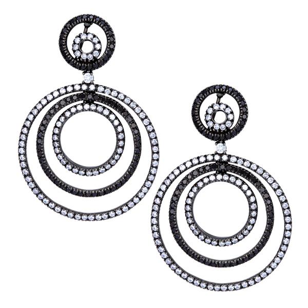 Black & white diamond earrings in 18k w/g