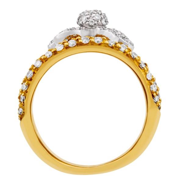 Giorgio Visconti Daisy flower pave diamond ring in 18k gold. 6.50 carats