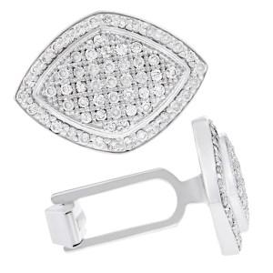 Pave diamond cufflinks in 18k white gold
