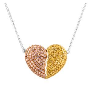 Heart shaped diamond pendant necklace