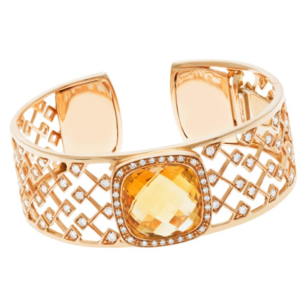 Roberto Coin bangle in 18k rose gold with citrine & diamonds