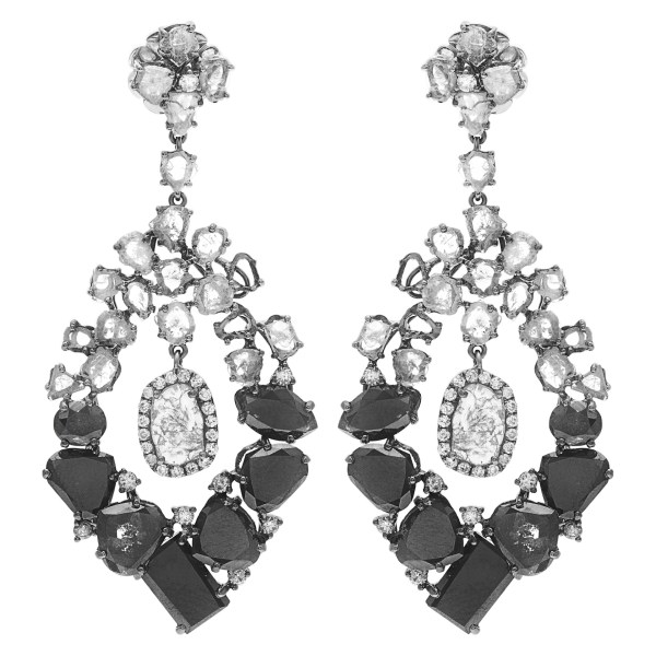 Black drop gorgeous earrings in 18k with over 8.5 carats in black diamonds